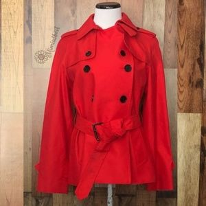 Coach short tench coat sz small - red